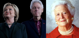 Clintons and Barbara Bush